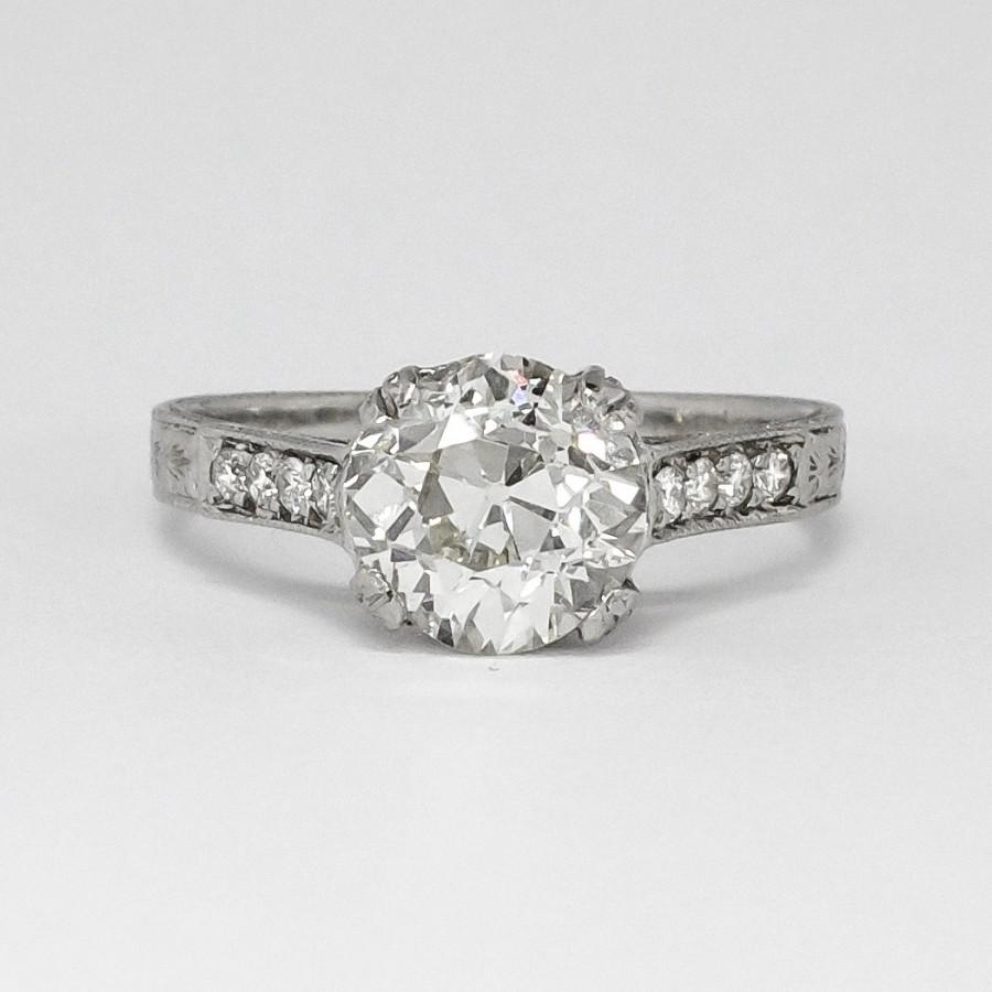 Mariage - Perfect 1.98ct t.w. Vintage Old European Cushion Cut Diamond Filigree Engagement Ring Platinum