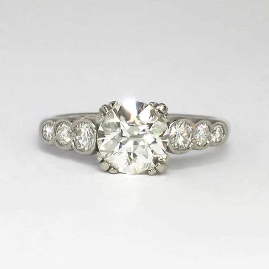 Mariage - Phenomenal Art Deco 1.84ctw Old European Cut Diamond Engagement Ring Platinum
