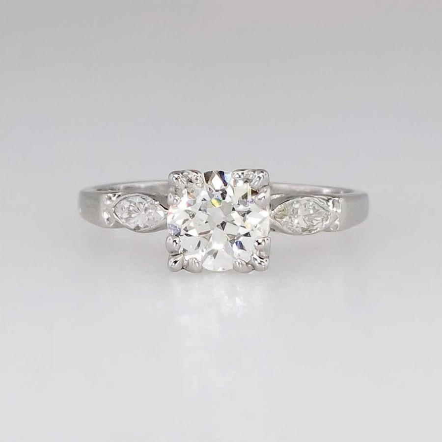 زفاف - Vintage 1.29ct t.w. Old European Cut Diamond Engagement Ring Platinum