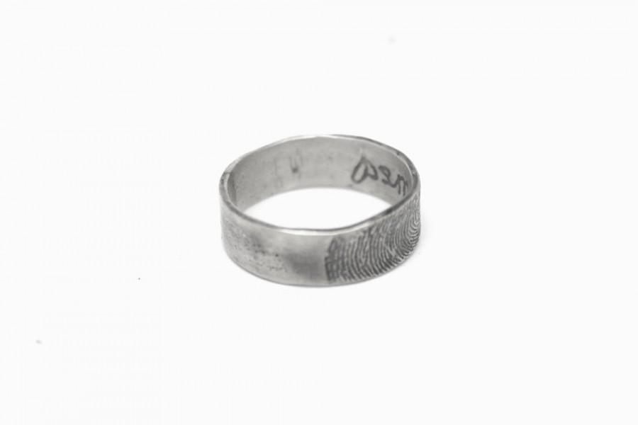 Wedding - Custom Fingerprint ring with private message, unique finger print band, OOAK 925 silver wedding band for man or woman