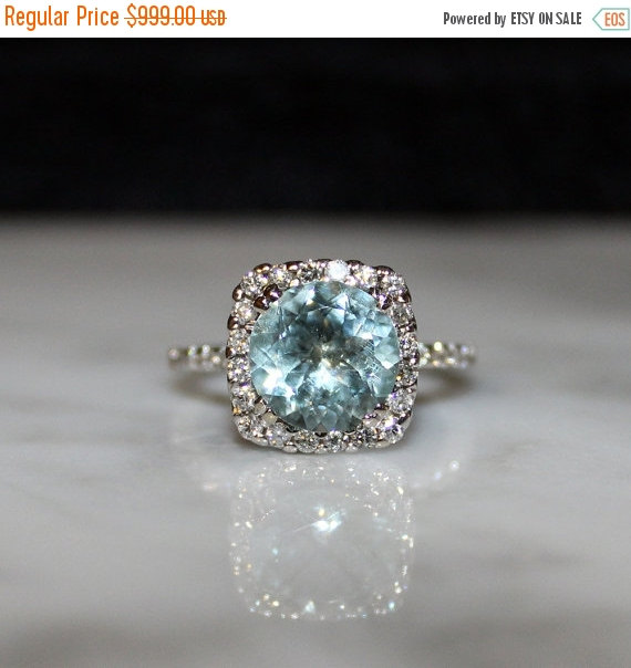 Hochzeit - SALE- 14K Aquamarine and Diamond Engagement Ring,  Appraisal Included
