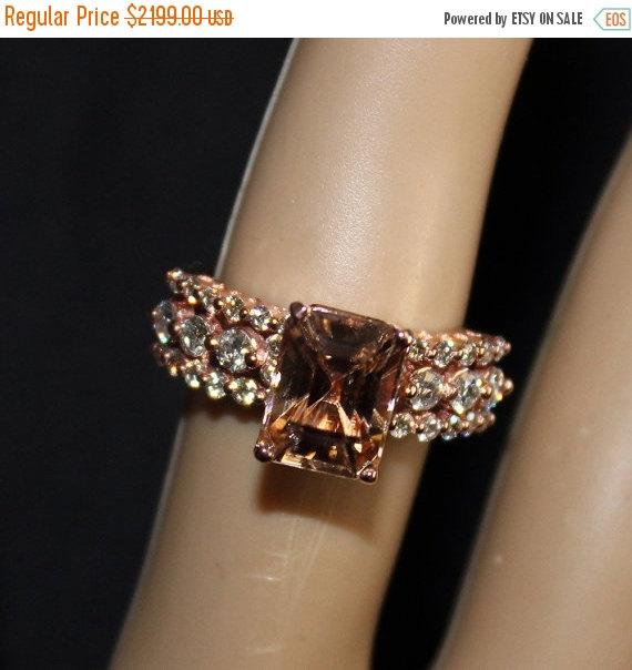 زفاف - SALE- Natural, 5.04 cts Champagne Zircon and .90 cts Diamond, Engagement Ring, Free Appraisal Included