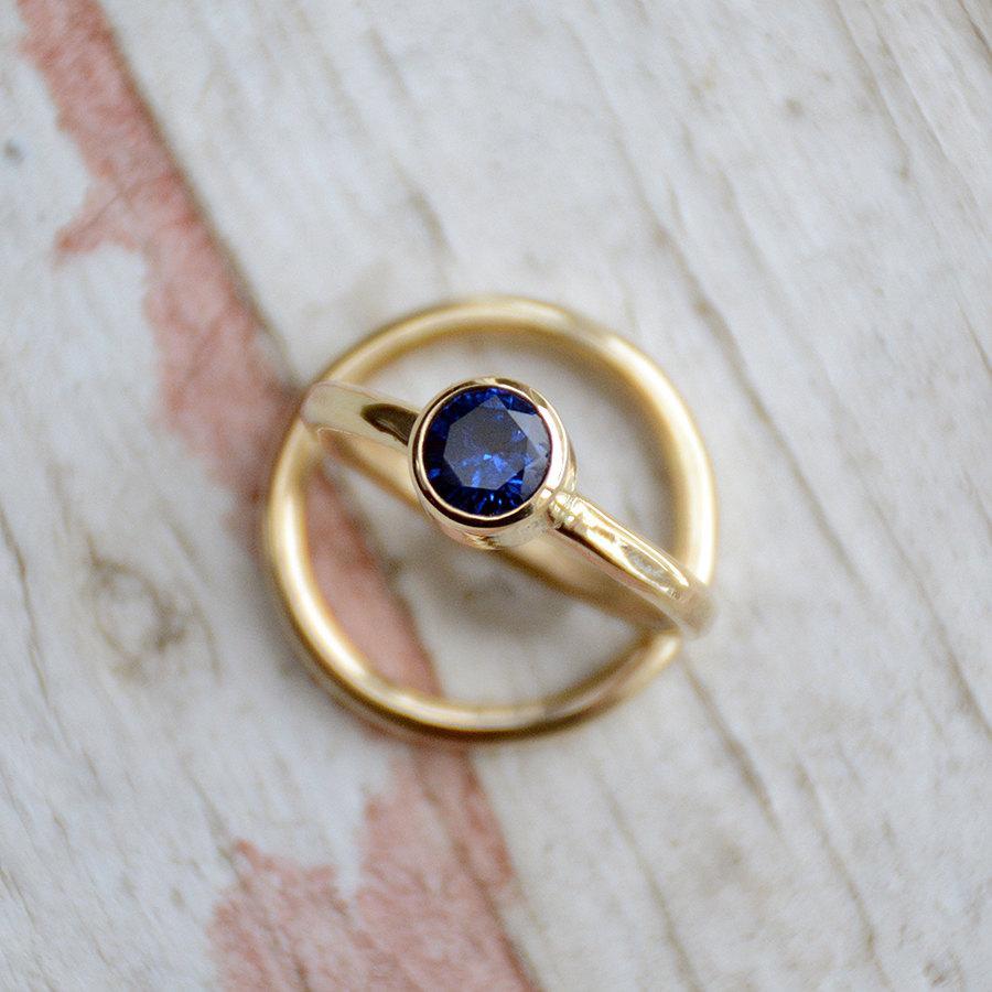 Sapphire Wedding Ring Set   Engagement Ring   Gold Wedding Ring Set    Bridal Jewelry   14 Karat Gold   Diamond Alternative Engagement Ring