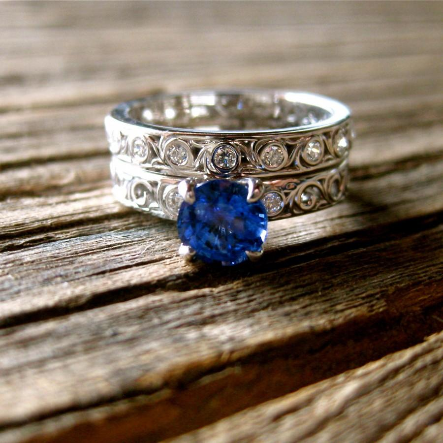 Wedding - Blue Sapphire Engagement Ring & Matching Wedding Band in 14K White Gold with Diamonds and Scrolls Size 5