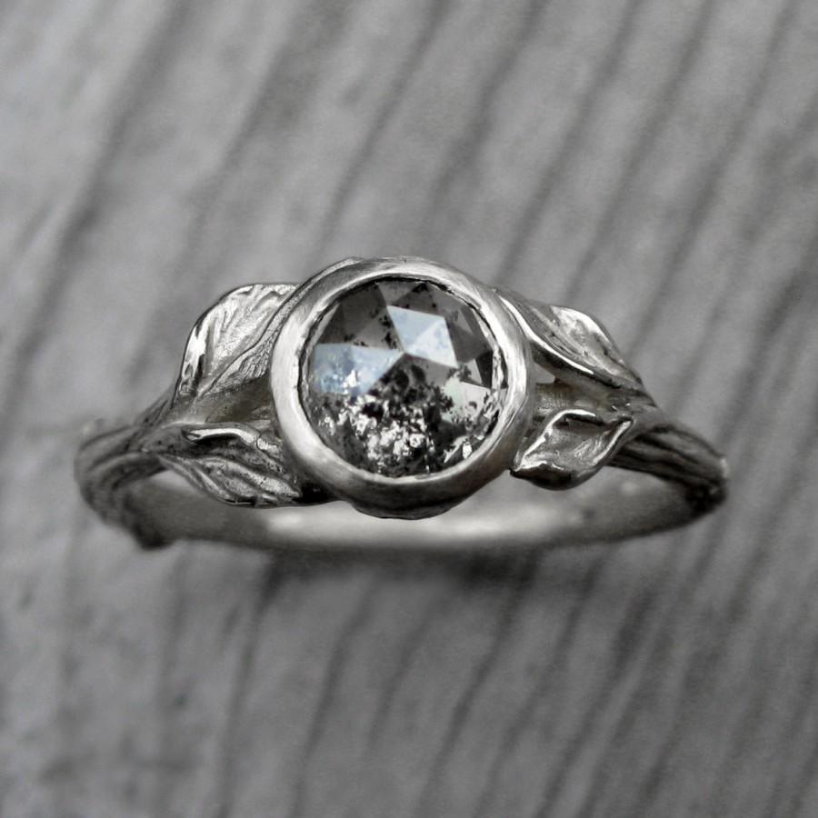 Custom Rose Cut Diamond Twig & Leaf Engagement Ring: Design Your Own Rustic Diamond  Ring In White, Yellow, Or Rose Gold