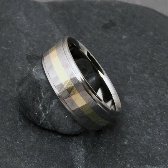 e2db8dc4a3622 Titanium Gold Ring, Wood Grain Sequoia, 18k Yellow Rose Or White ...