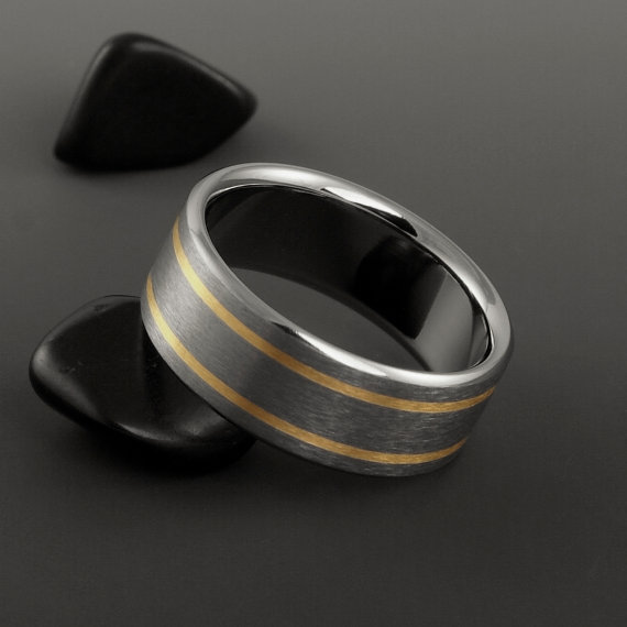 Titanium Gold Wedding Band Yellow Rose Or White Gold Ring Mens