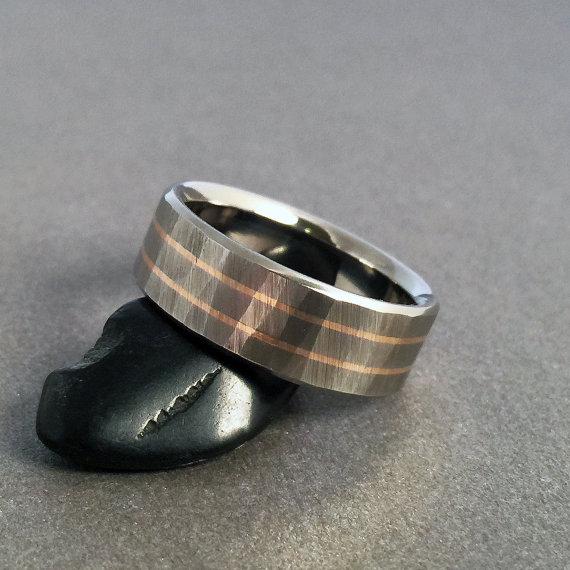 Titanium Rose Gold Ring Wood Grain Sequoia 18k Band Wedding Rings Mens Womens