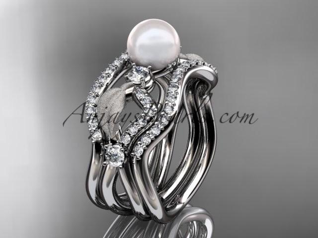 Wedding - platinum diamond pearl leaf engagement ring with double matching band AP68S