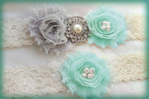 Свадьба - Something Blue Garter Set 35+ COLORS AVAILABLE Grey & Aqua Blue Wedding Garters Ivory Lace Gray Aqua Garter Pearl or Rhinestone Bling Garder