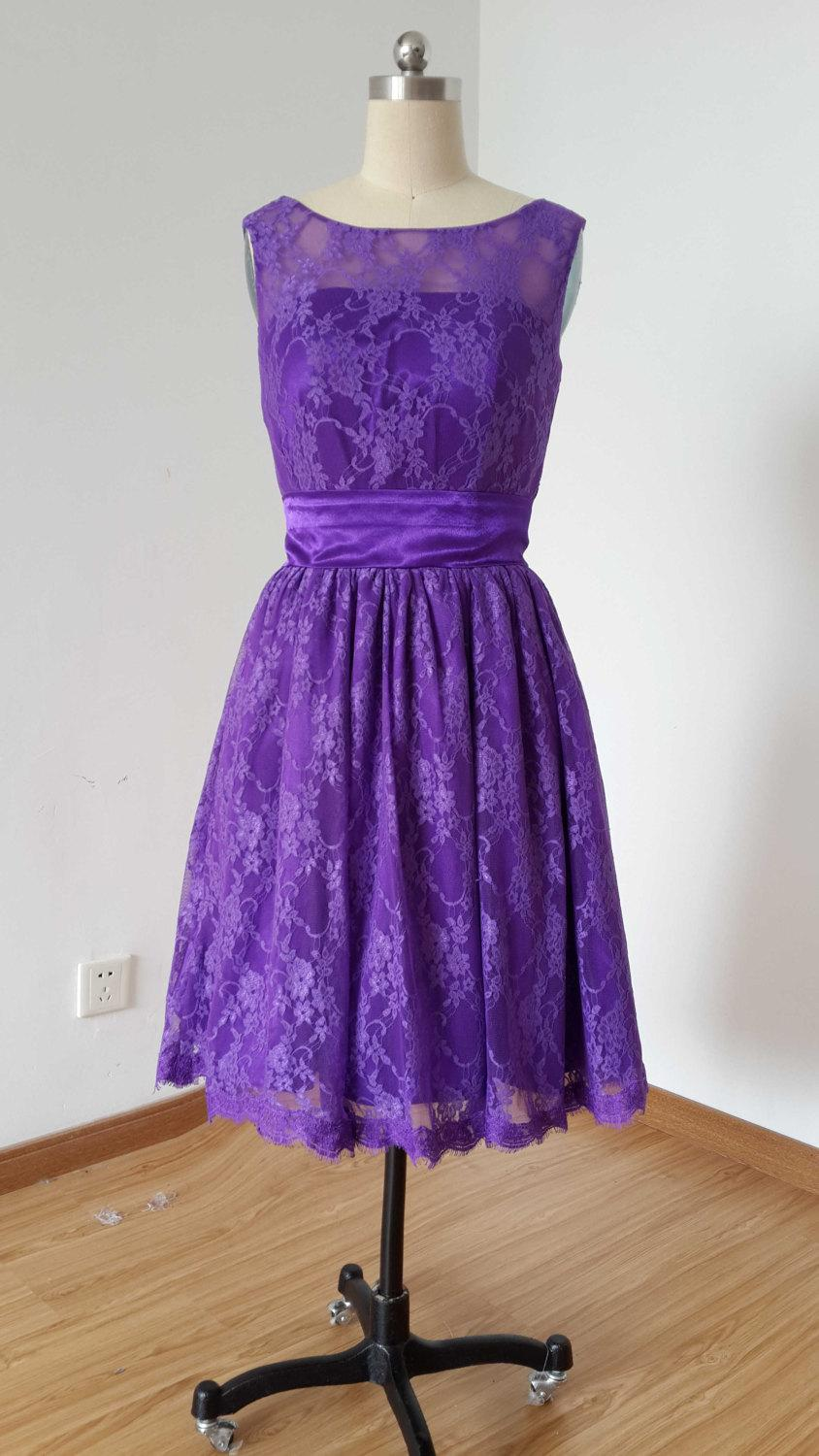 Свадьба - 2015 A-line Purple Lace Short Bridesmaid Dress