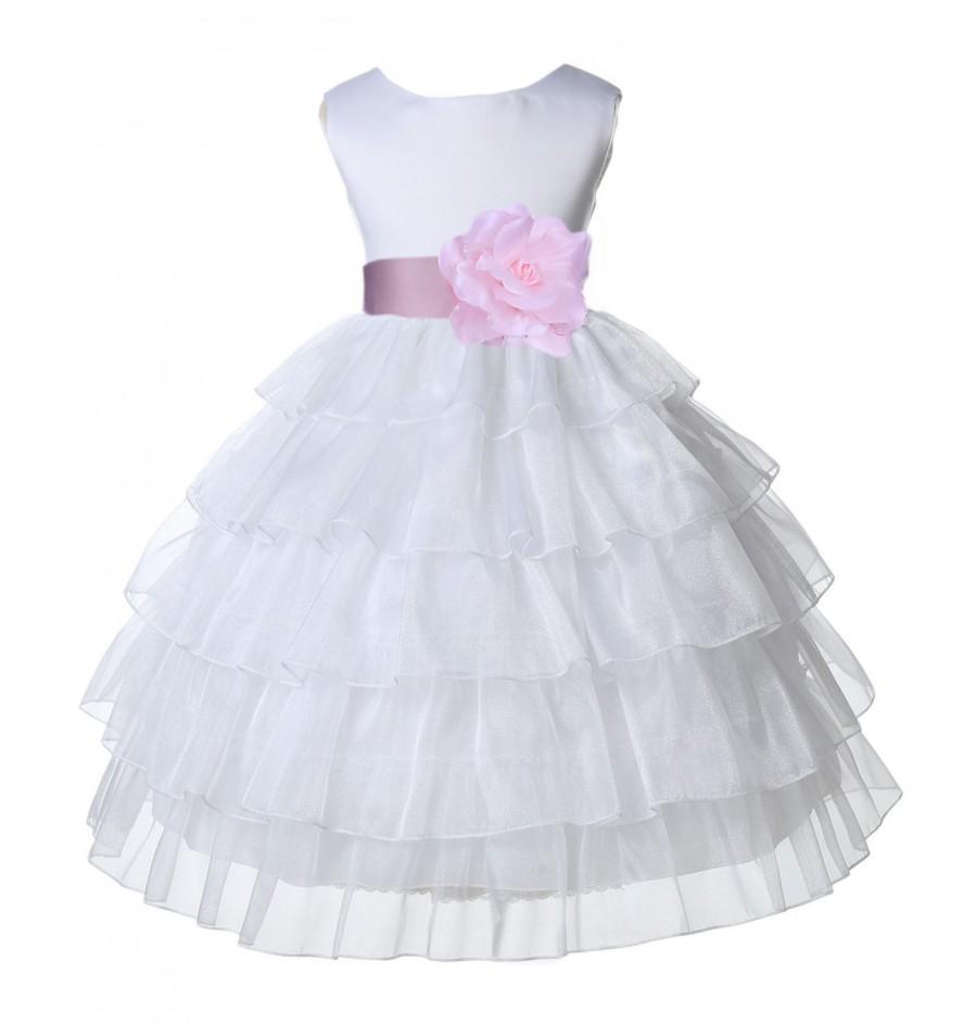 Hochzeit - White Tired Organza Flower Girl dress sash pageant wedding bridal children bridesmaid toddler elegant sizes 12-18m 2 3 4 5t 6 6 8 10