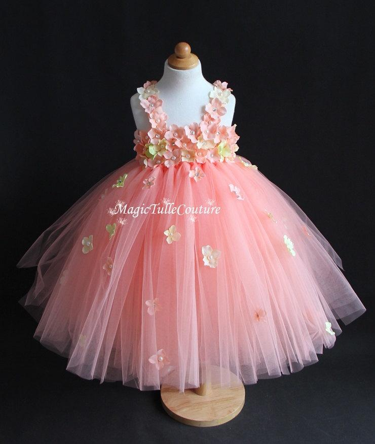 9e377833942 Petal peach hydrangea flower girl tutu dress wedding dress tulle dress  toddler dress 1t2t3t4t5t6t7t8t9t10t (Without Matching Headpiece)