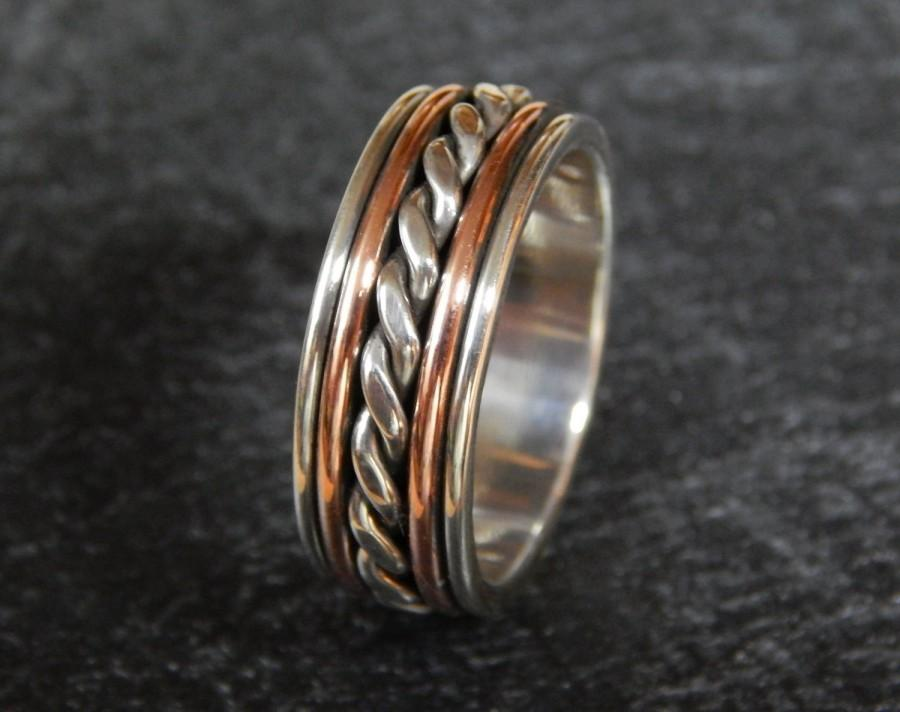 Wedding - MAJESTIC Silver & Copper Wedding band // Men's Wedding Band // unique wedding band // rustic wedding band // handmade in 1/4 sizes // 8-9 mm