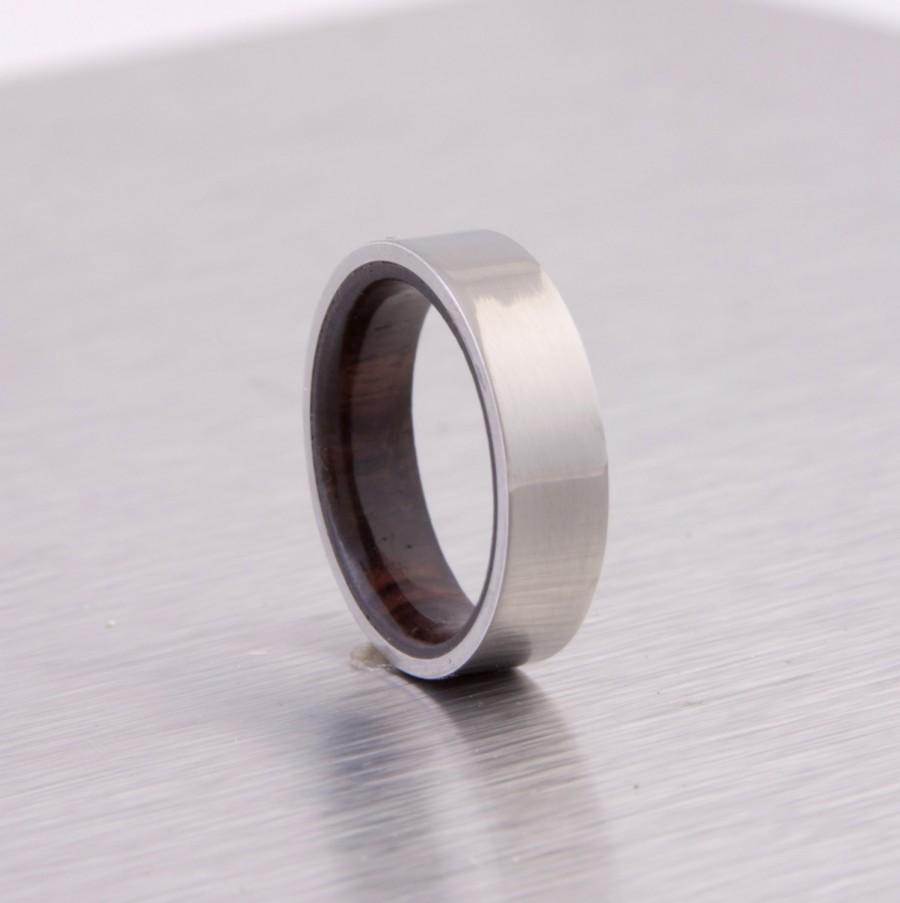 Wedding - titanium wood ring flat band wedding ring cocobolo wood  ring