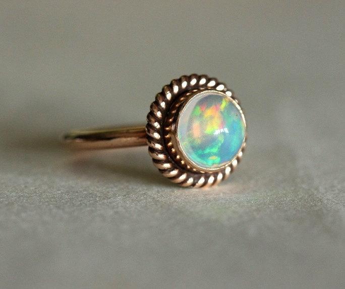 زفاف - Proposal ring - 14K Rose Gold Opal ring - Opal Ring - Engagement ring - Artisan ring - October birthstone - Bezel ring - Gift for her