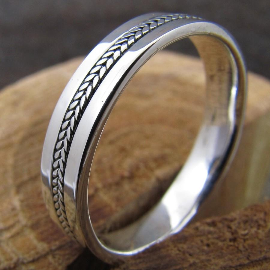 Свадьба - Mens Silver Inlayed Ring Wedding Band