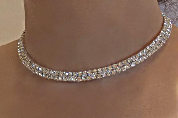 Свадьба - Bridal Rhinestone Necklace and Earring Set