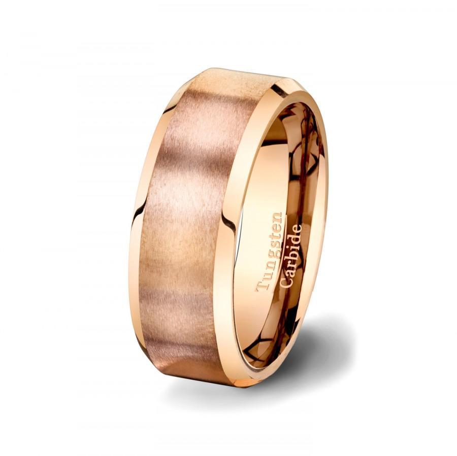 زفاف - Mens Wedding Band Rose Gold Tungsten Ring with Brushed Satin Surface Beveled Edges  High Quality Tungsten Carbide 8mm Comfort Fit