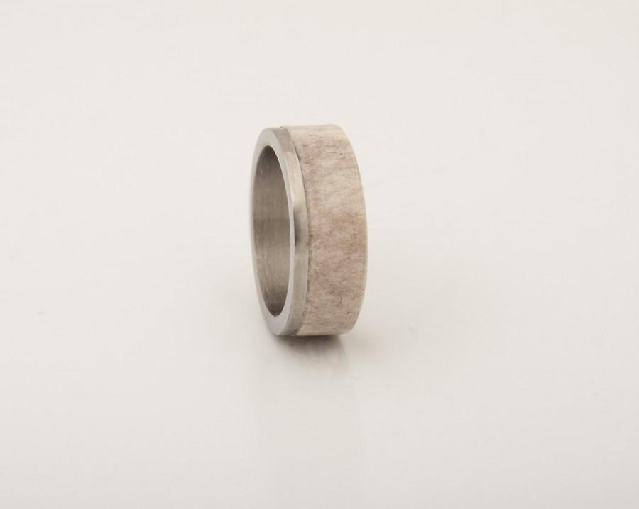 زفاف - Mens antler Ring WIth Titanium Ring Mens Wedding Band Silver Ring