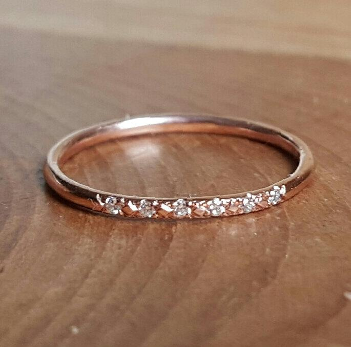 14K Pink Gold Pave Diamond Ring Stacking Rings Rose Band Womans Gifts For Her Thin Wedding Engagement