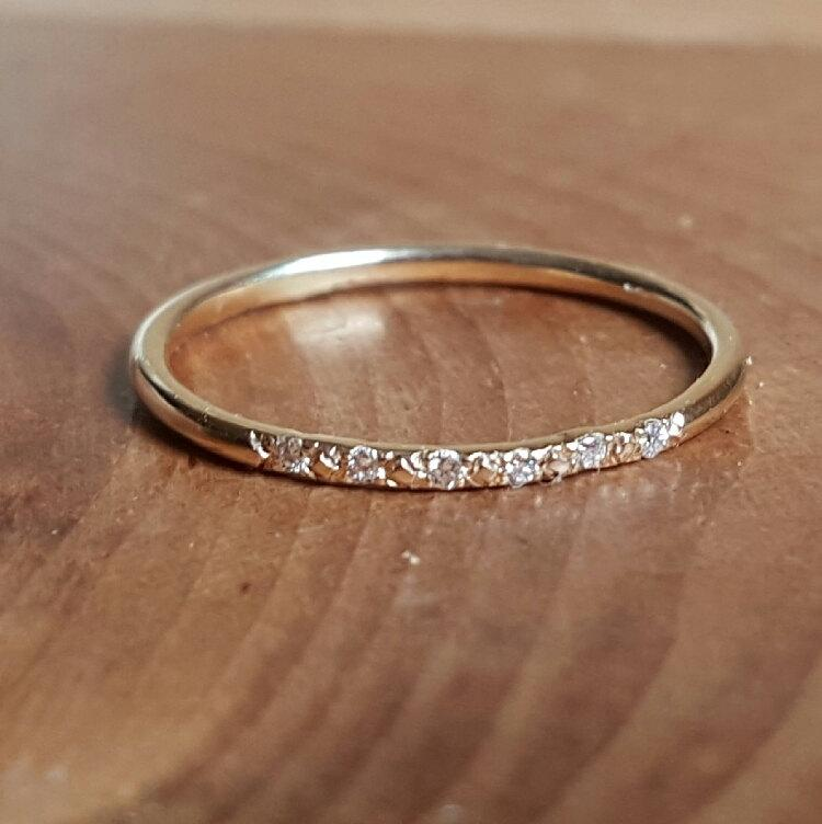 Hochzeit - 14K Gold Pave Diamond Ring 14K Stacking Rings 14K Gold Band Woman's Ring Gifts for Her Thin Diamond Wedding Band Diamond Engagement Ring