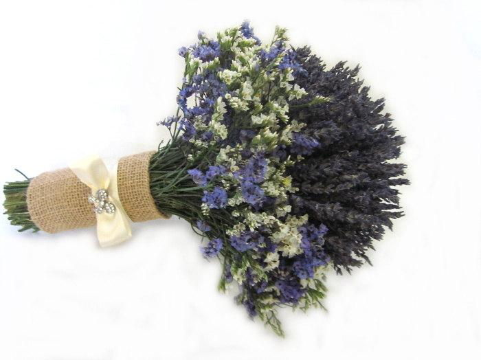 Wedding - Organically French Blue Dried Lavender Chic Bridal bouquet - Bridesmaid bouquet MADE TO ORDER!