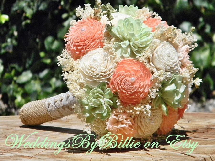 Weddings Peridot Mint Peach Bouquet Burlap Lace Sola Alternative Rustic Shabby Chic Bridal Accessories Keepsake