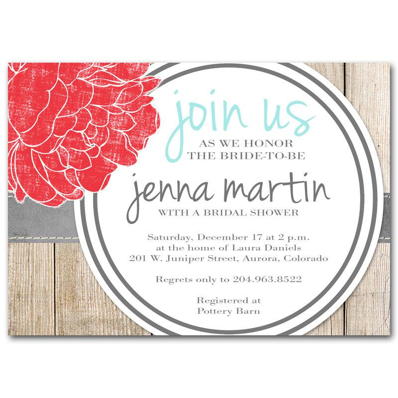 Bridal Shower Invitation, Modern Rustic Baby Shower Invitation, Red ...