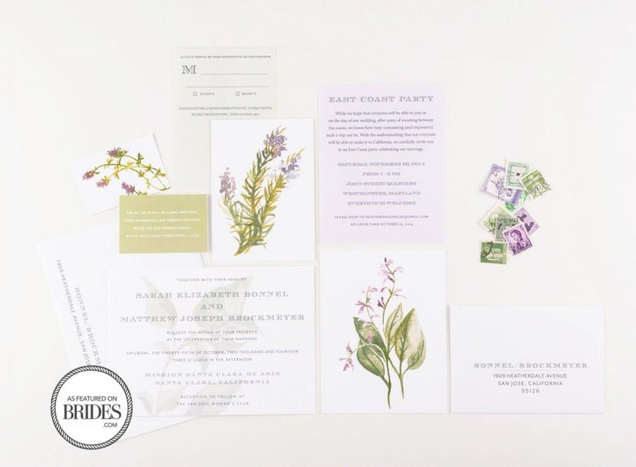 Mariage - Herbal Botanical Wedding Invitations, As Seen in Brides Magazine, Lavender and Green Vintage Botanical Watercolor Invitations