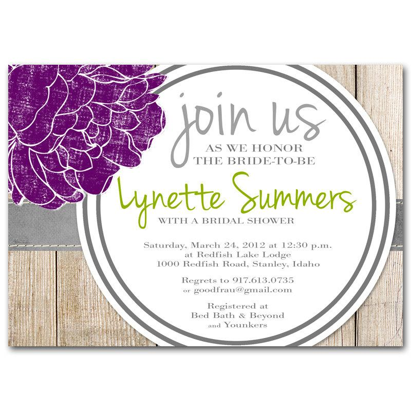 Wedding - Bridal shower invitation, baby shower invitation, purple, green, gray, lavender, printable digital diy
