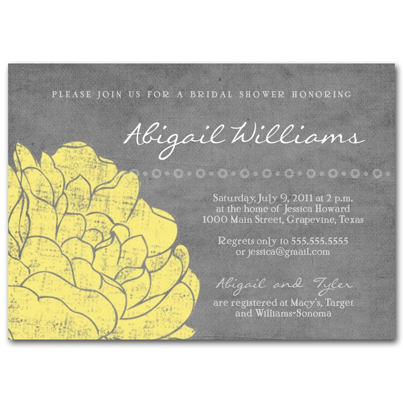 bridal shower invitation baby shower invitation vintage gray and yellow printable digital diy