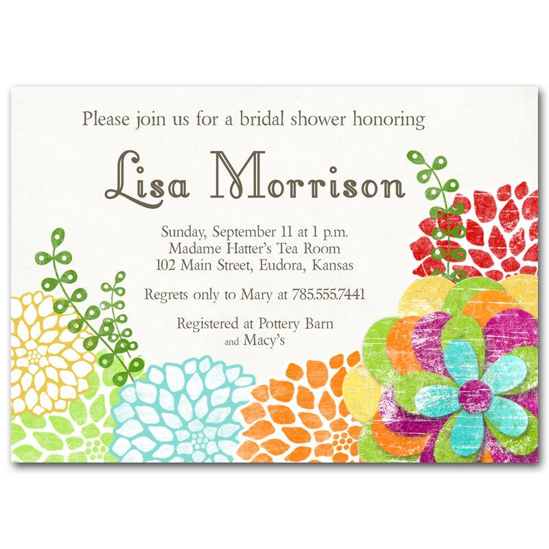 bridal shower invitation bright and colorful vintage floral