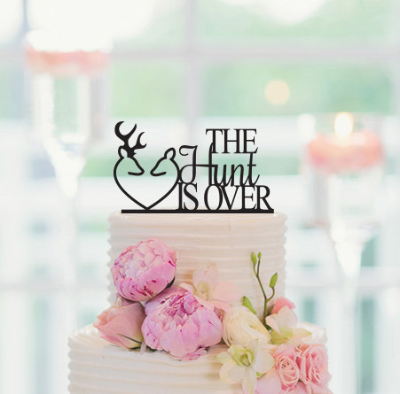 Mariage - Wedding Cake Topper, The Hunt Is Over Cake Topper, Cake Topper Wedding, Deer Cake Topper