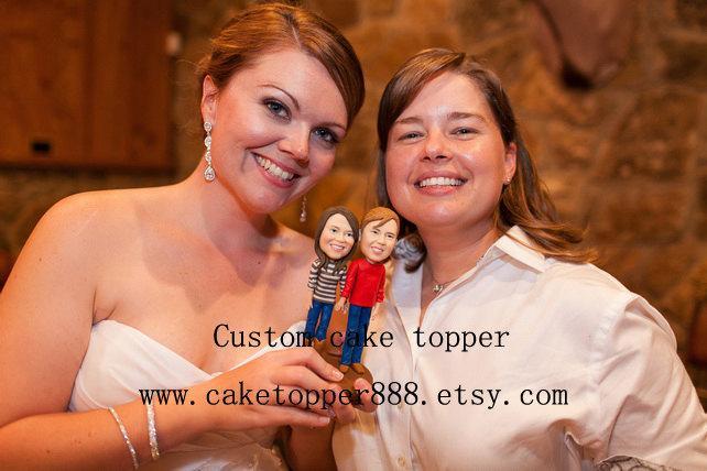 Mariage - Custom wedding cake topper, same sex cake topper, two brides cake topper, perosnalized cake topper, keepsake, forever cake topper, rustic