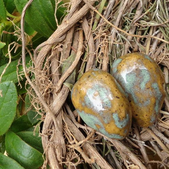 Wedding - Ceramic Eggs: Wireable, Mottled Honey and Moss, Adorable, For Your Wedding Attendant Basket or Baby Shower