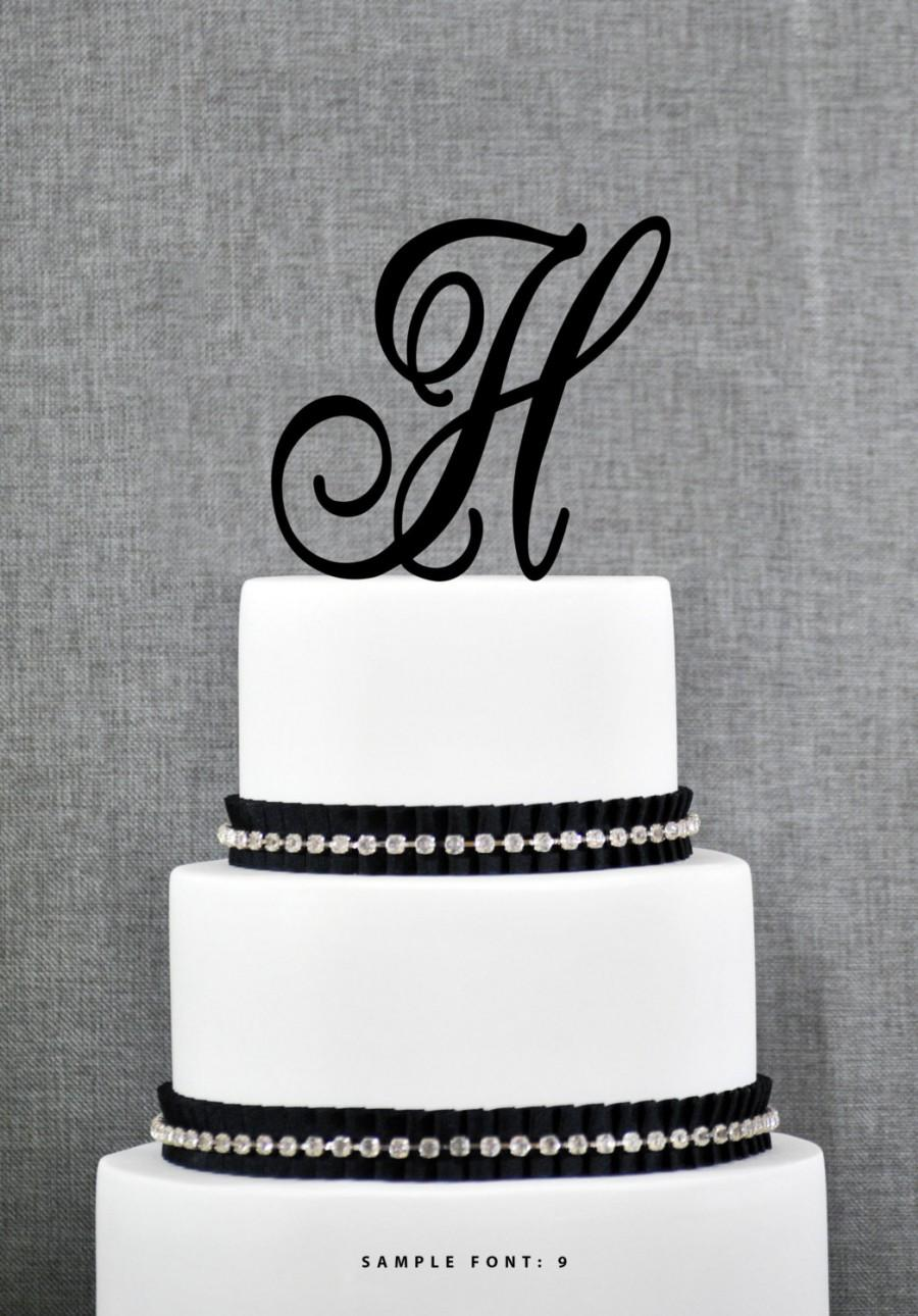 Mariage - Letter H Single Monogram Cake Topper – Custom Wedding Cake Topper in Your Choice of 56 Typefaces, 15 Colors and 17 Glitter Options