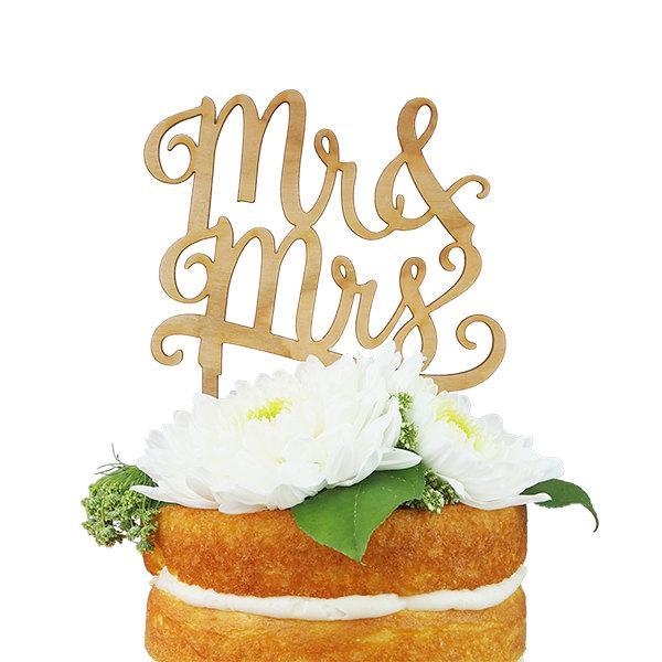 Mariage - Mr. & Mrs. Cherry Wood Cake Topper