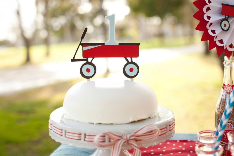 Mariage - Little Red Wagon Cake Topper - 1st Birthday Decorations - ANY AGE - Cake Decorations - Smash Cake - Baby's 1st Cake