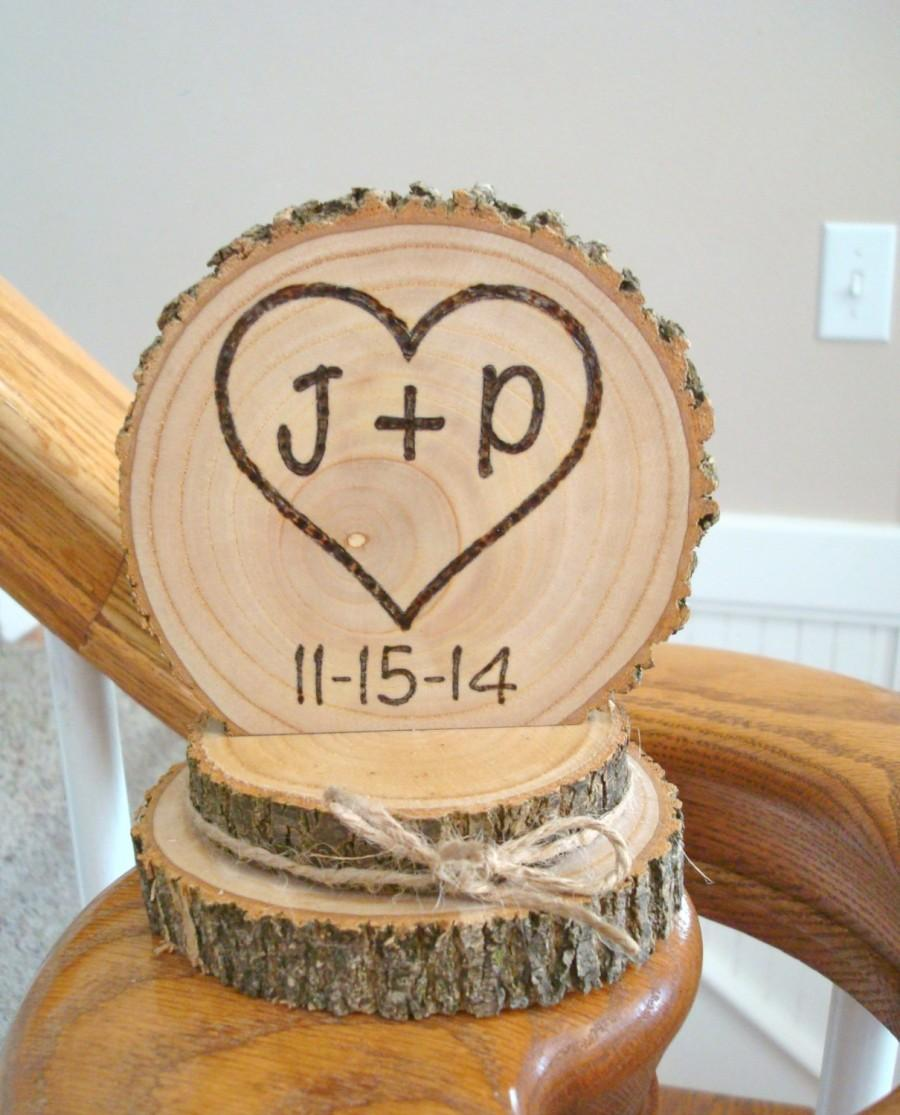 Hochzeit - Rustic Wood Cake Topper Wedding Heart Initials Personalized Romantic