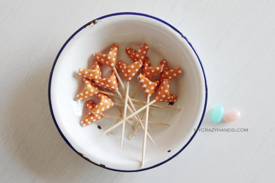 12 Origami Cupcake Picks Wedding Toppers Bridal Shower 3D Hearts Pie Orange Dot