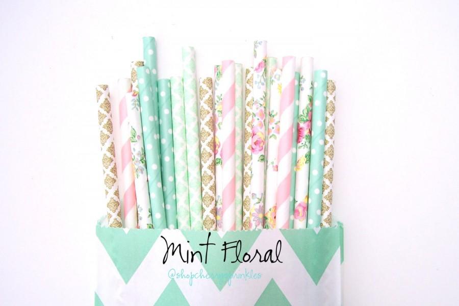 Wedding - Mint Floral paper straws -Vintage wedding decor, Seaglass Damask Pink flower straws, Rustic Wedding, Tea Party, Vintage Floral party Straws