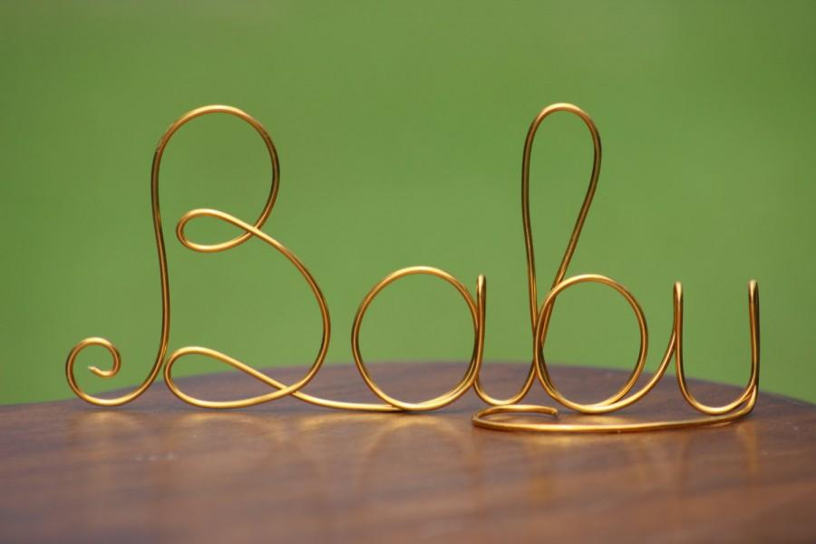 gold wire baby cake toppers baby shower decorations bridal shower rustic country chic wedding