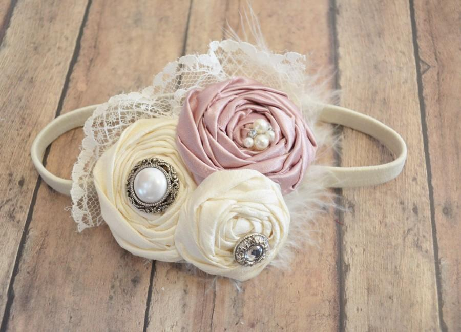Hochzeit - Flower Girl Headband /  Blush Pink Vintage Pink Headband  /  Bridesmaids headband / wedding hair piece / girls pink headband