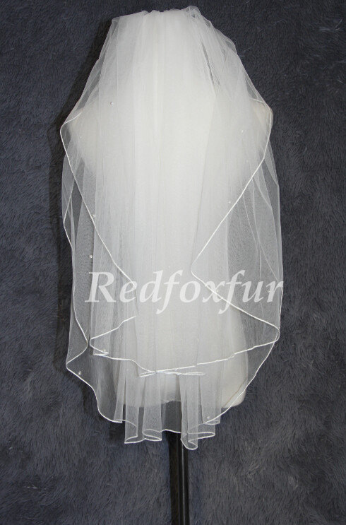 Wedding - 2T fingertip veil bridal headpiece white ivory veil bridal veil wedding headpiece rope edge veil