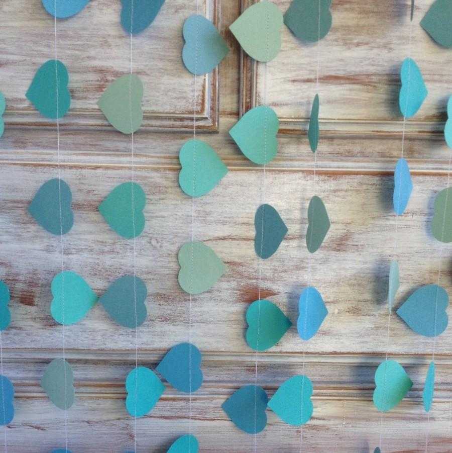 3 metres tropical collection ocean aqua azure blue heart garland shabby chic beach wedding decoration baby shower decoration