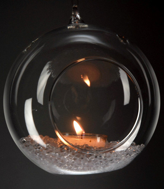 "Wedding - 4"" Hanging Glass Ball Candle Holder Hanging Terrarium - Pack of 6"