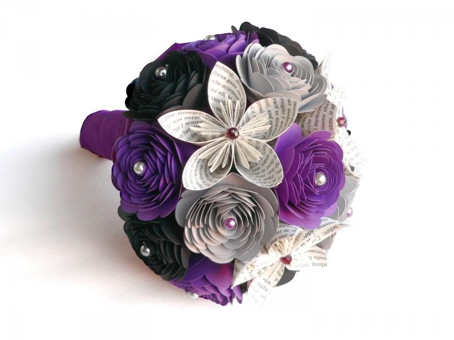 Mariage - Edgar Allan Poe's The Raven Wedding Bouquet, Gothic Wedding, Gothic Bouquet, Purple and Black Bouquet, Halloween Wedding
