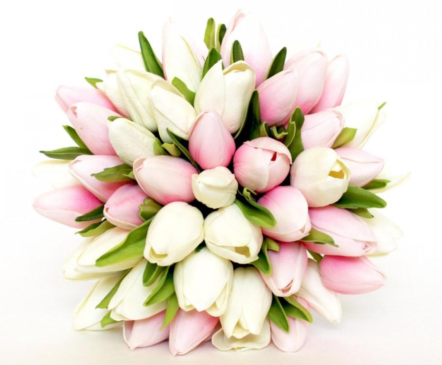 Wedding - WEDDING BOUQUET- Tulip Pink Wedding Bouquet- Pink And White Tulip Bridal Bouquet- Real To Touch Silk flowers