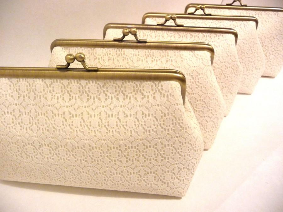 Mariage - Ivory Lace Bridesmaid Clutch Set of 5, Personalized Clutch Set, Wedding Lace Clutch, Seven Inch Bronze Frame